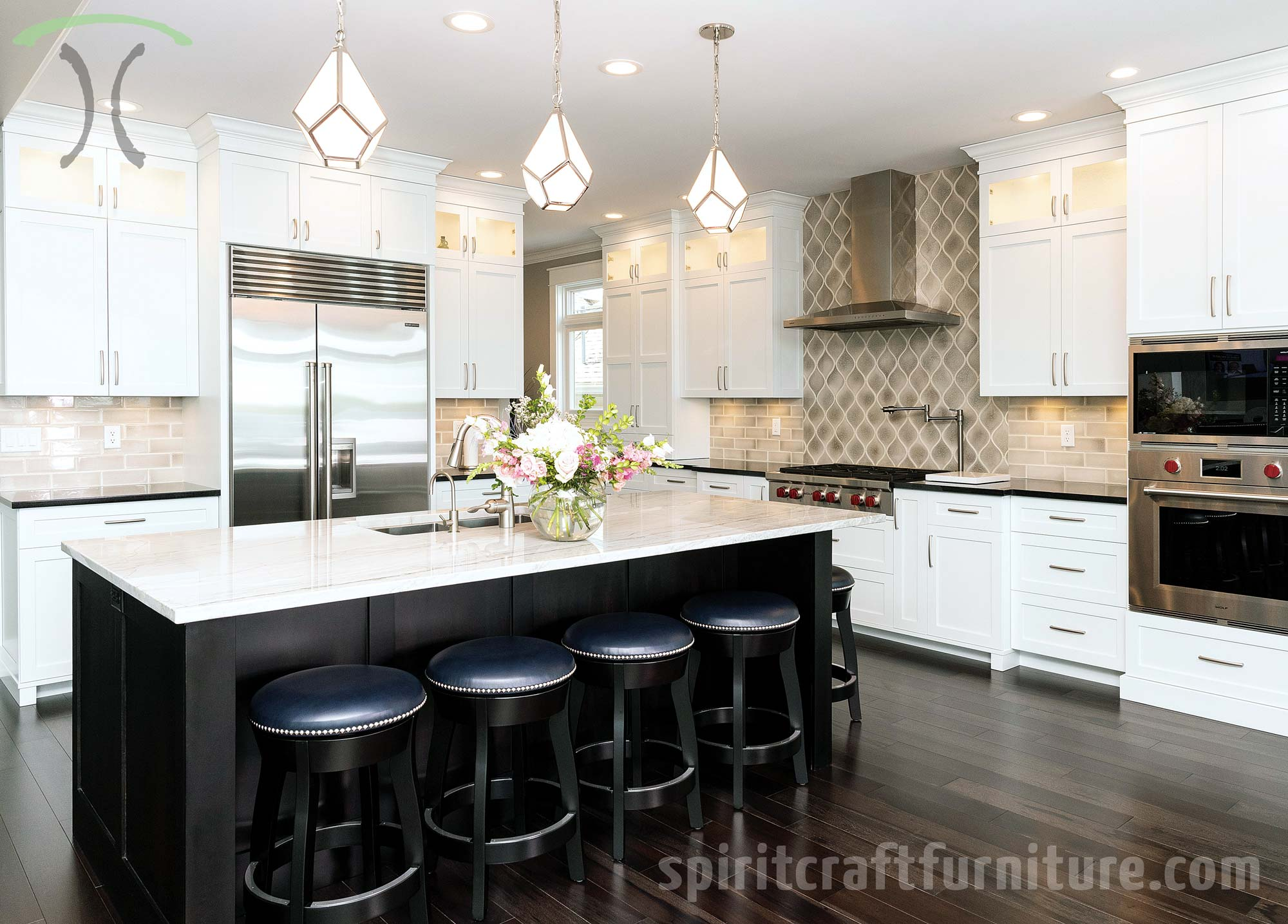 RH Yoder Counter Height Dillon Barstools, Stained Ebony in Chicago, Illinois area Kitchen