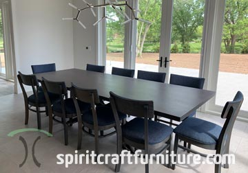 RH Yoder Emerson Chairs Stained Storm Grey with Sapele Mahogany Dining Table Stained to Match from Spiritcraft Furniture of Dundee, Illinois
