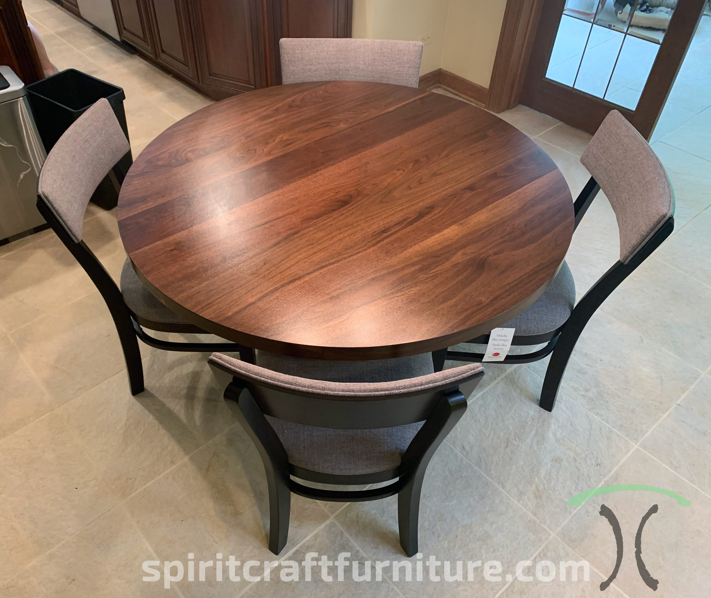 "60"" Walnut Table with RH Yoder ""Emerson"" Dining Chairs in Stained Brown Hard Maple in Chicago Home"