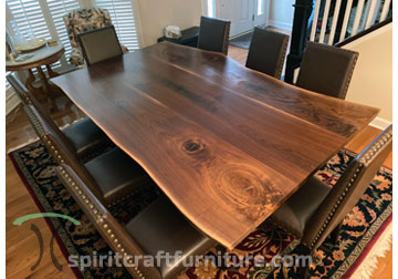 "RH Yoder ""Bow River"" Fully Upholstered Dining Chairs in Stained Brown Maple with Ultraleather in ""Road"" with Black Walnut Live Edge Table from Spiritcraft Furniture of Dundee, Illinois"