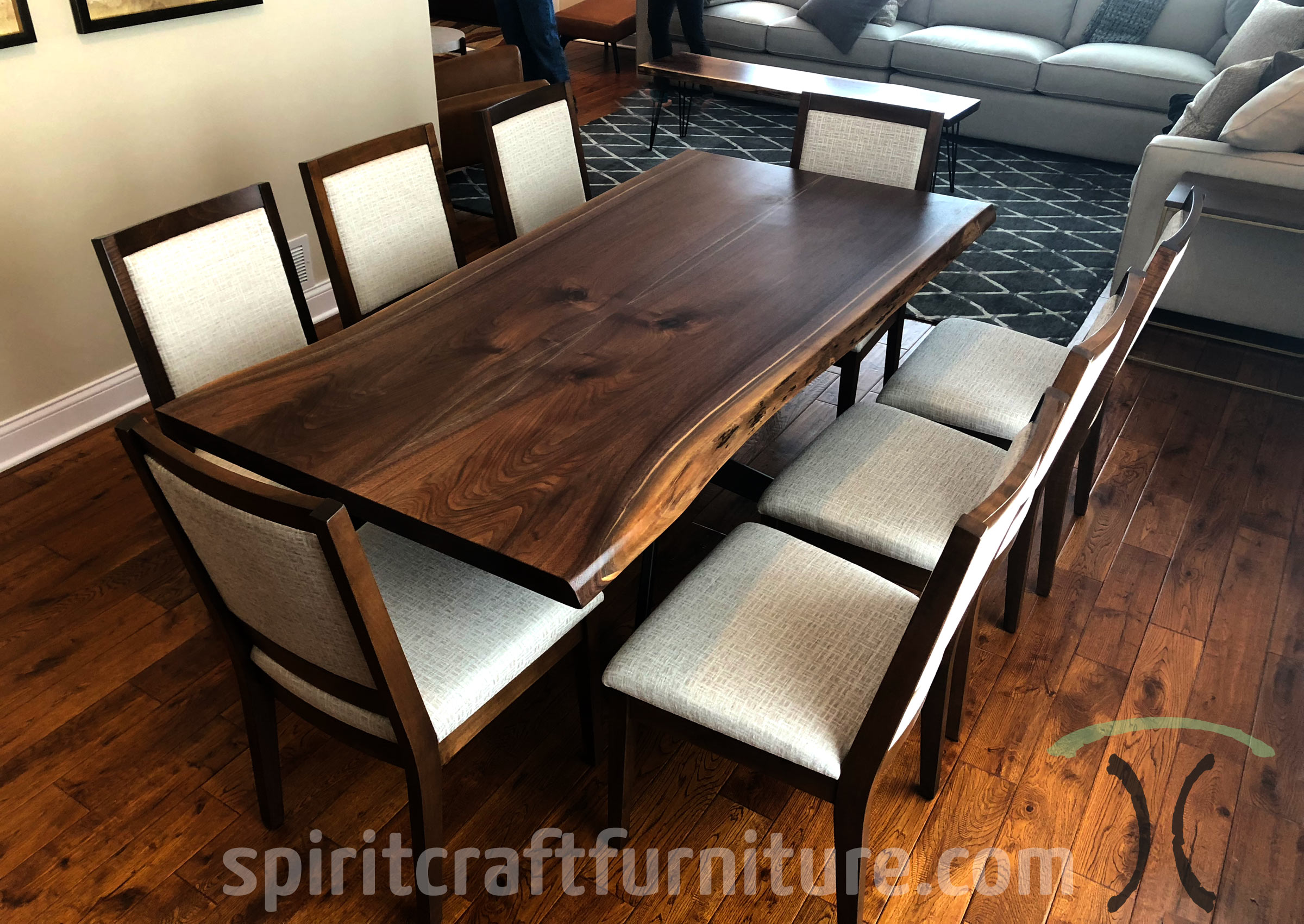 RH Yoder Wescott Side Chairs in Brown Hard Maple, Stained to Match Live Edge Walnut Dining Table in Chicago area, Illinois