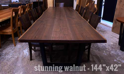 Stunning black walnut live edge conference table custom designed for chicago office