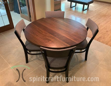 Solid solid wood round dining tables tables, table tops and conference tables in various diameters and hardwoods shipped nationally and made in East Dundee, IL USA