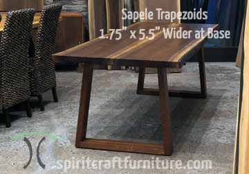 Solid Sapele Hardwood Trapezoid Legs, Mitered and Splined with Black Walnut Live Edge Table Top | Mid Century Style.