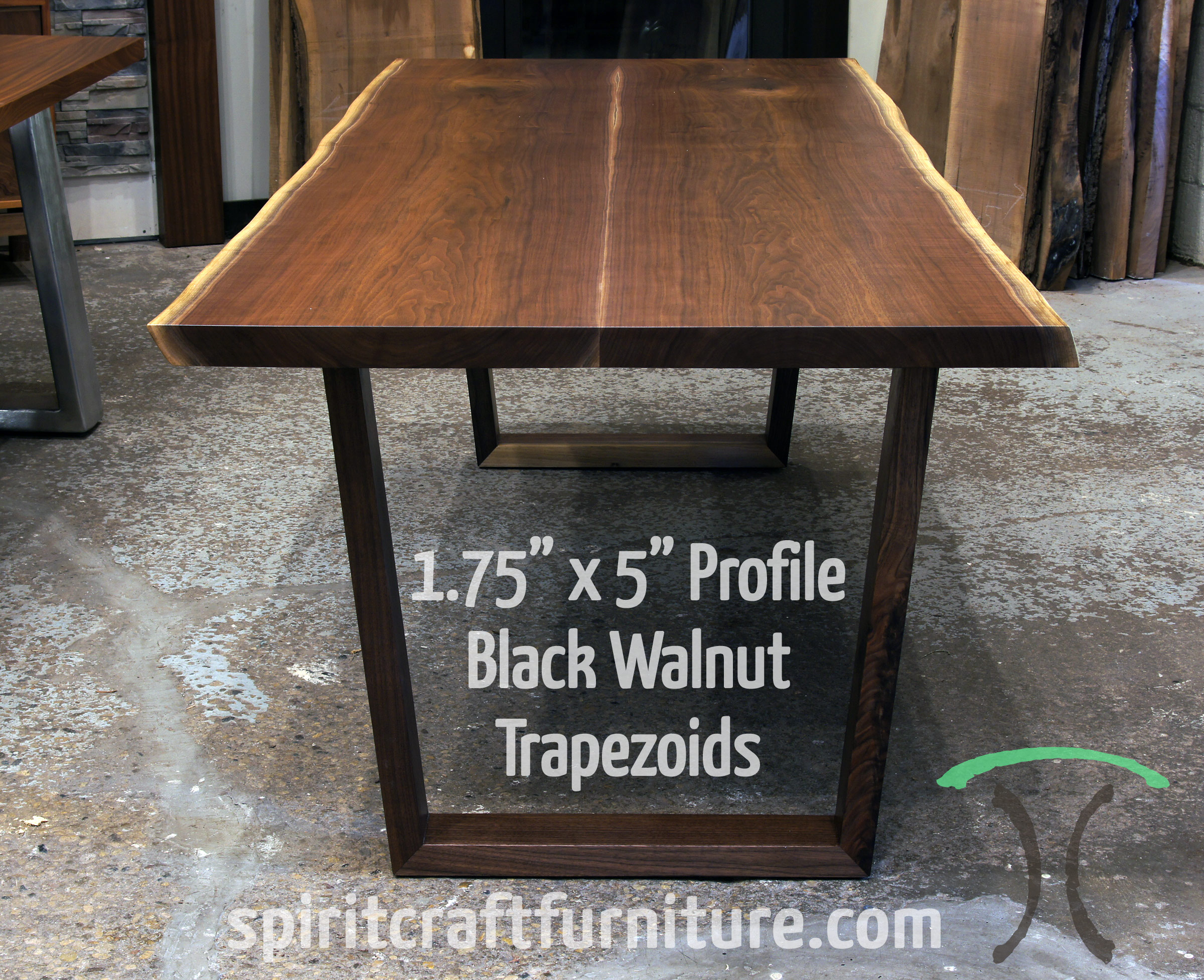 Solid Black Walnut Tzoid Legs Wider At The Top On Live Edge Dining Table