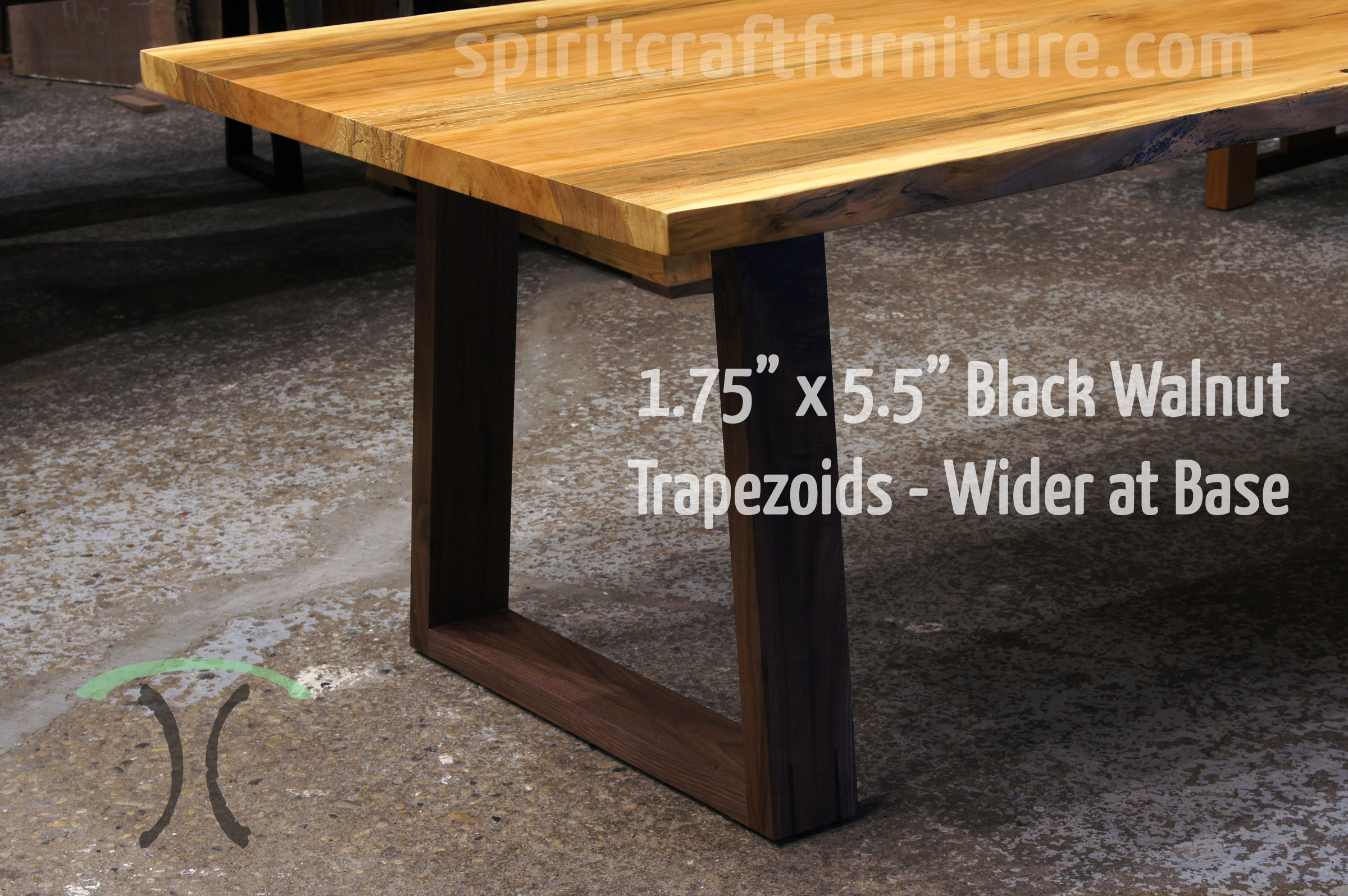 Solid Black Walnut Hardwood Trapezoid Legs, Mitered and Splined with Black Walnut Live Edge Table Top, Mid Century Style and Heirloom Quality.