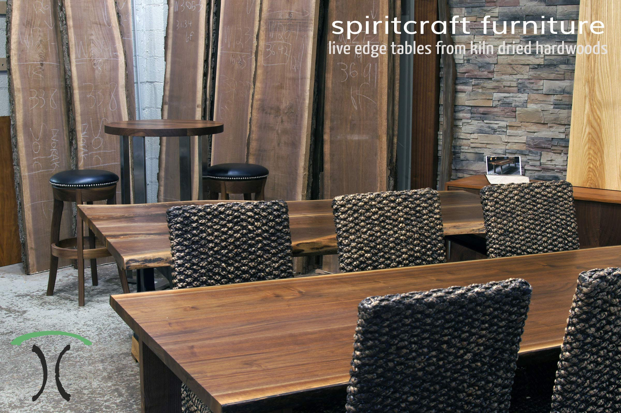 Natural Edge Dining Round Restaurant And Conference Tables In Walnut Crafted With Kiln Dried