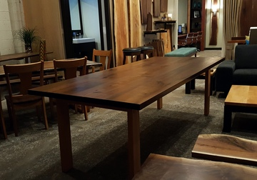 Our furniture showroom in East Dundee, IL featuring Mid Century Modern furniture, cocktail and dining tables and natural live edge slabs of Walnut, Maple, Cherry and other hardwoods.