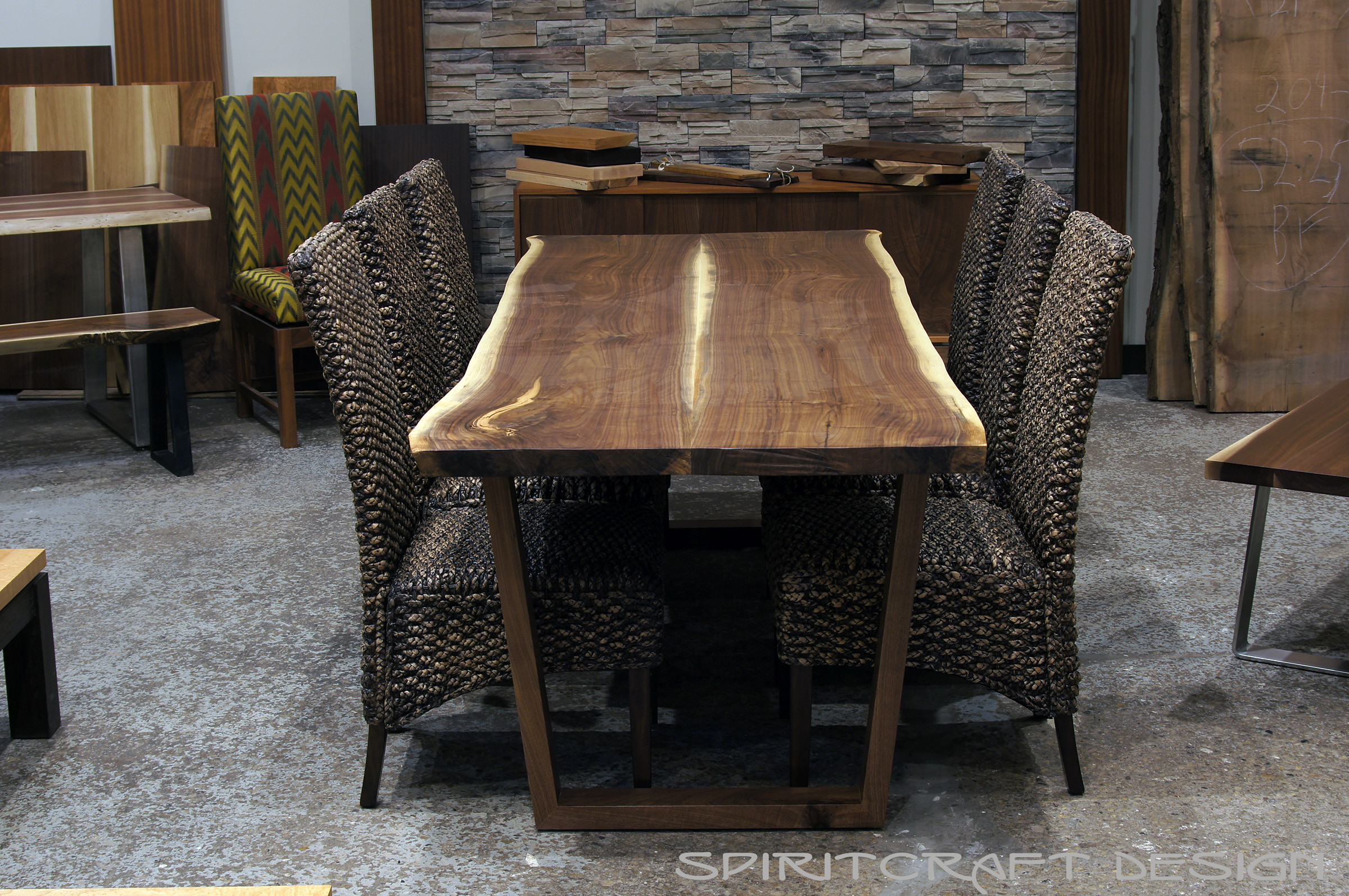 Contemporary furniture stores in chicago il -  Chicago Area Furniture Store Our Hardwood Furnitire Bookmathed Live Edge Slab Dining Table With Perfectly Crafted Walnut Hardwood Trapezoid