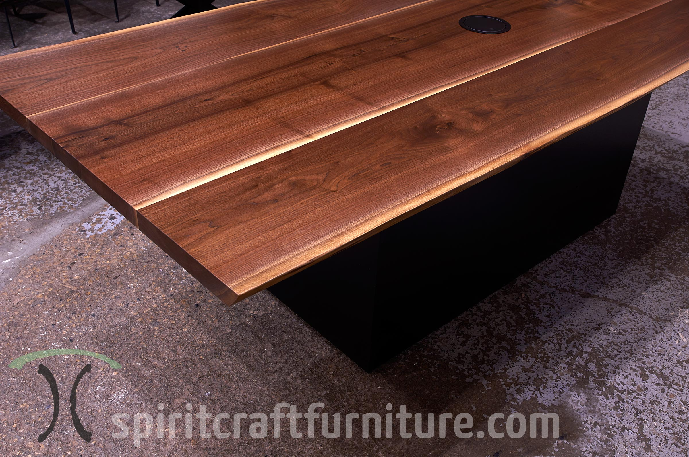 Live Edge Wood Slab Conference Room Tables And Desk Tops - Conference table grommet