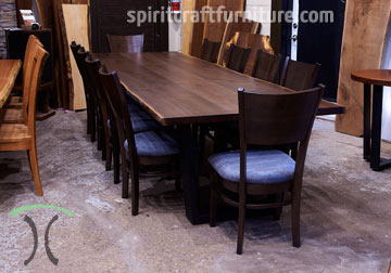 Black Walnut Live Edge conference room table for New York office with RH Yoder Somerset Chairs from Chicago area custom woodshop Spiritcraft Furniture of East Dundee, IL.