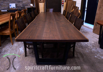 Black Walnut Live Edge conference room table for New York boardroom with RH Yoder Somerset Chairs from Chicago area custom woodshop Spiritcraft Furniture of East Dundee, IL.