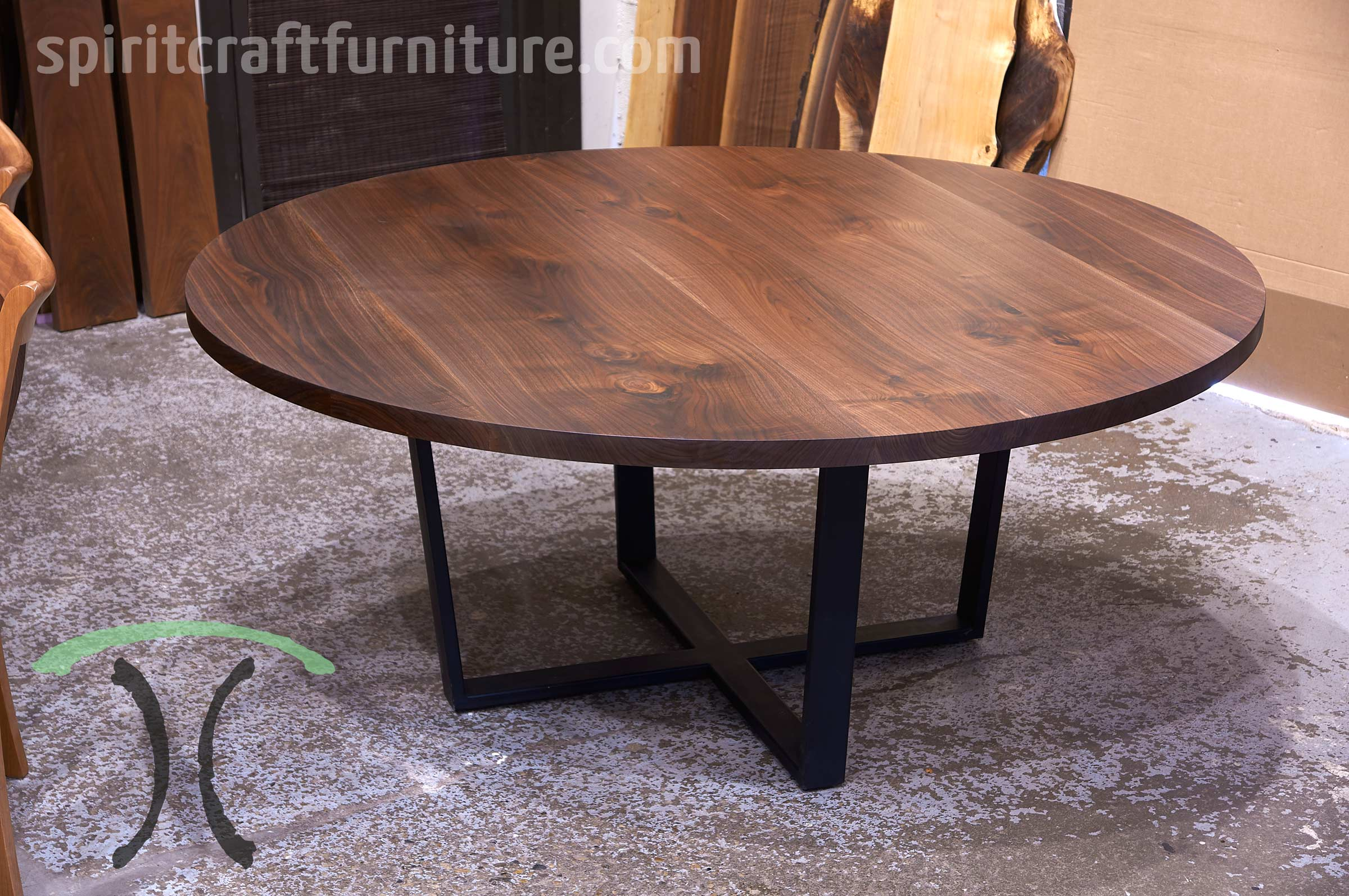 Round custom made solid wood dining - conference tables
