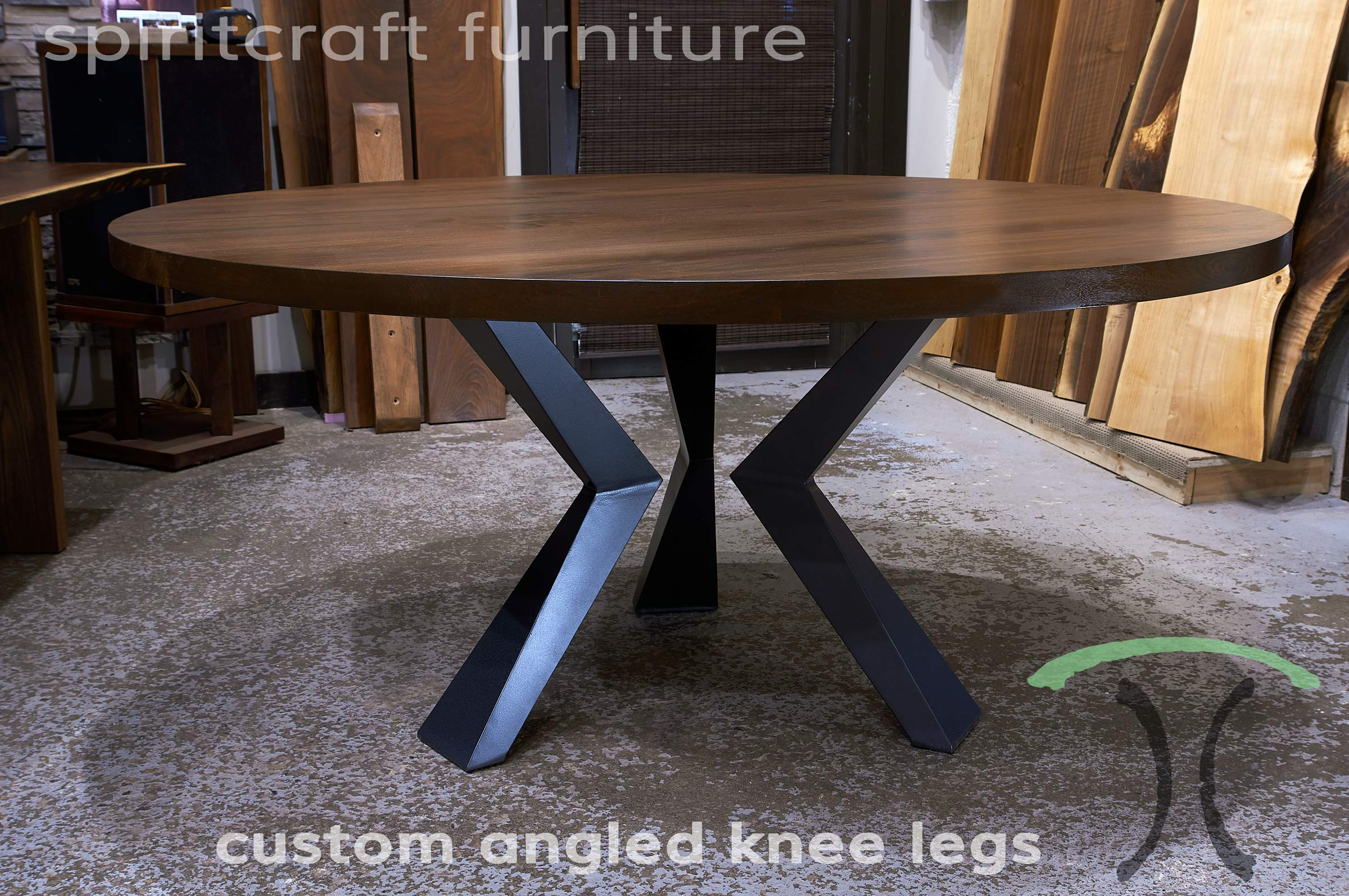 Custom Made Solid Black Walnut Round Dining Top With Custom Made Welded  Steel Knee Legs Handcrafted Part 47
