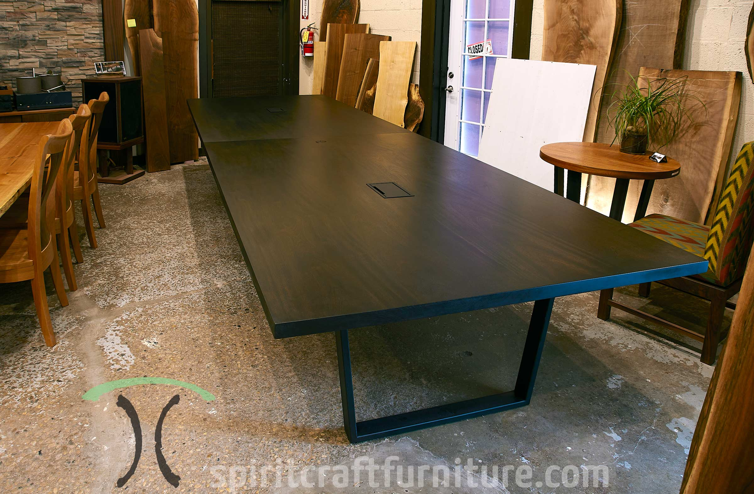 Solid hardwood conference tables in solid Sapele hardwood for corporate office in Washington, tables are custom made at our Chicago area showroom and furniture shop in Dundee, IL.
