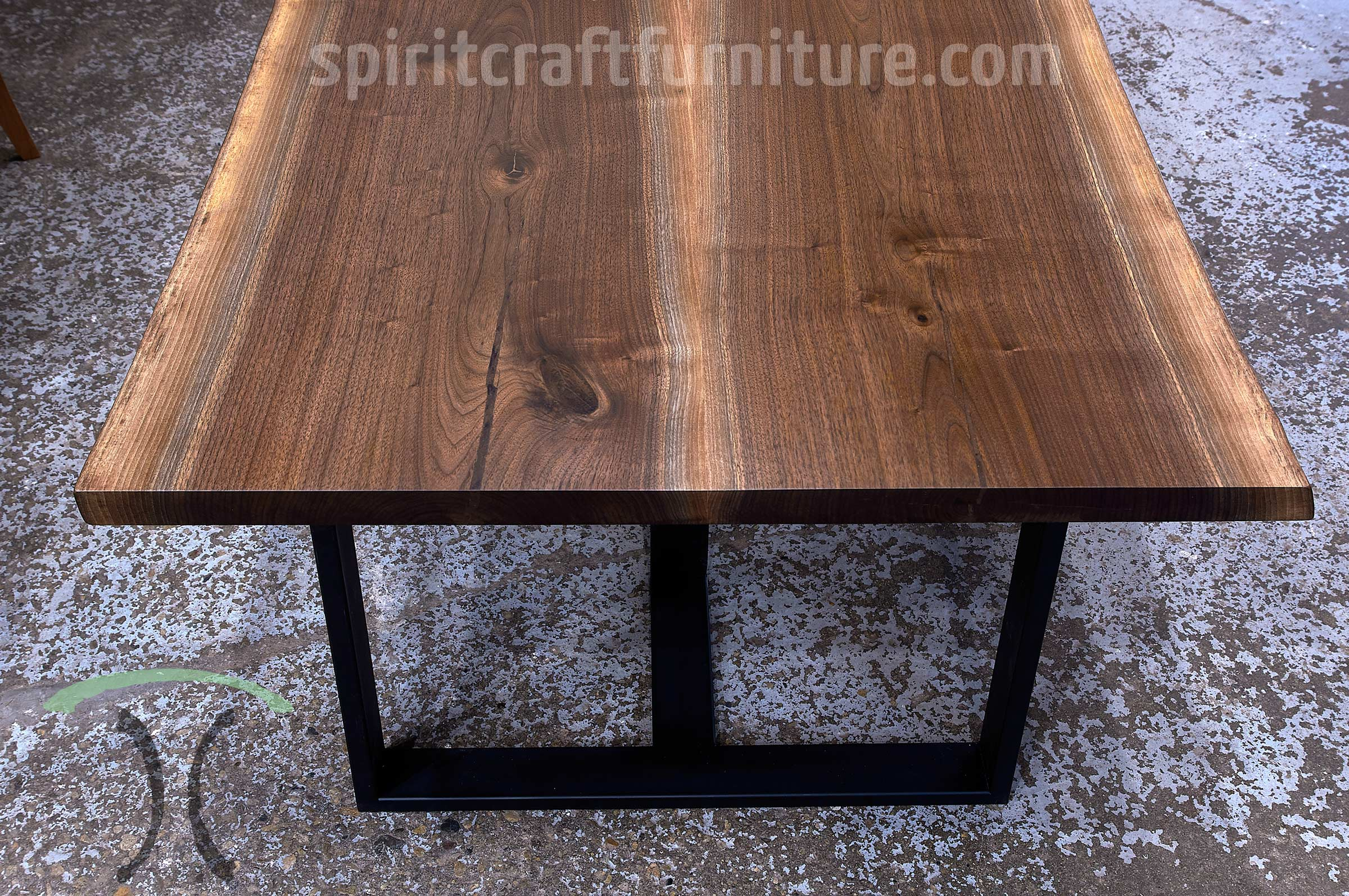 Black Walnut Live Edge Conference Table with Steel Tri Legs for Chicago area Corporate Headquarters, Handcrafted by Spiritcraft Furnitue in East Dundee, Illinois