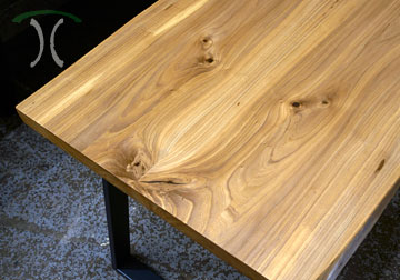 American Elm Live Edge Desk - Conference Table for Miami, Florida client in Belize Corporate Buisiness Hotel Suite.
