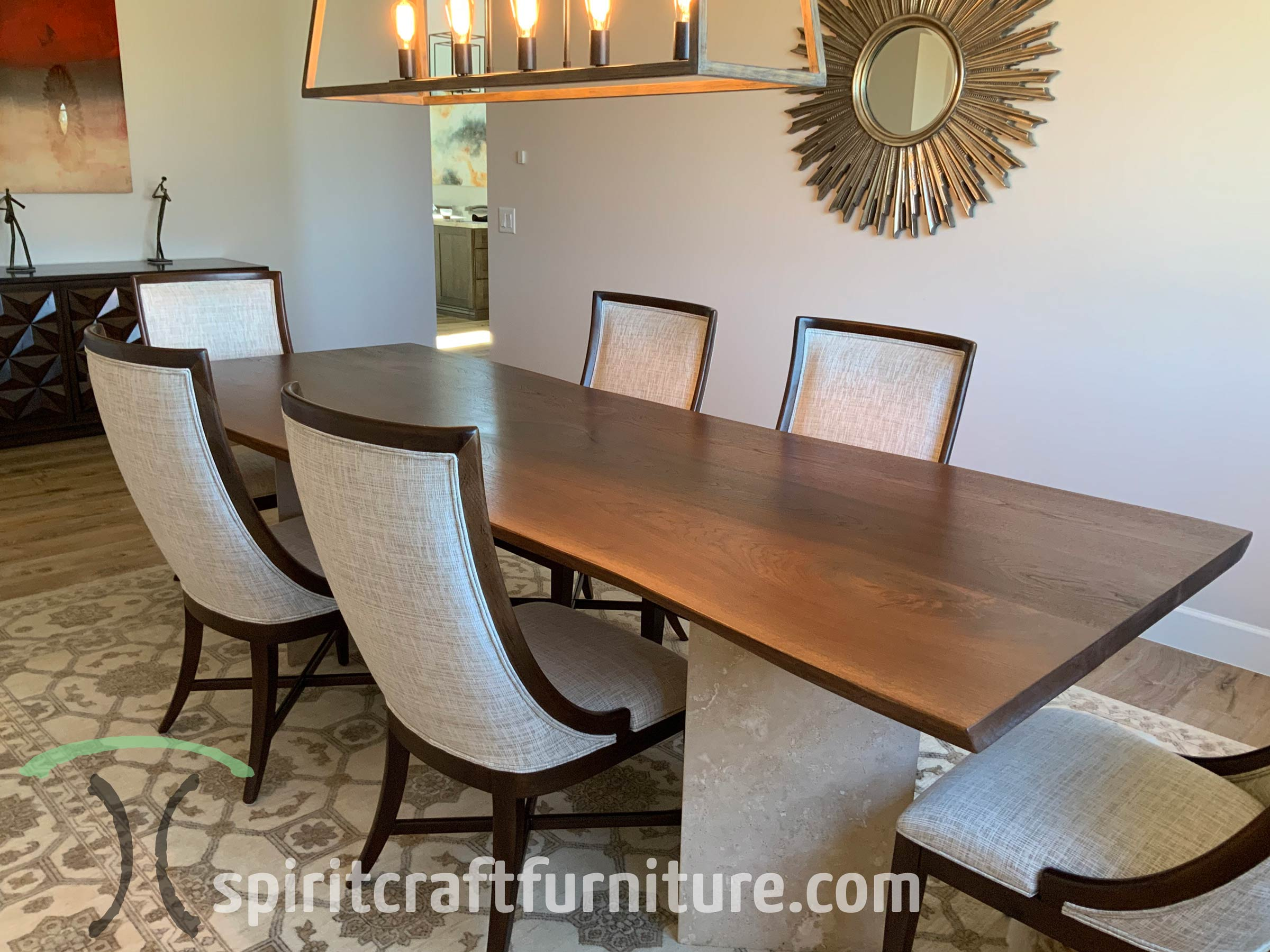 Live edge dining table in solid Black Walnut - kiln dried slabs on customers own base, delivered to Scottsdale, Arizona