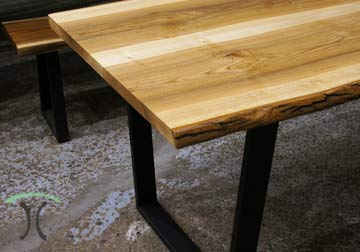 Ash Live Edge Dining - Conference Table on Black Steel Trapezoids.