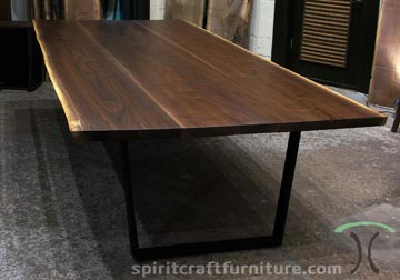 Live edge Black Walnut slab conference table, desk on steel mid century modern trapezoid legs for Chicago Client from Spiritcraft Furniture, East Dundee, IL.