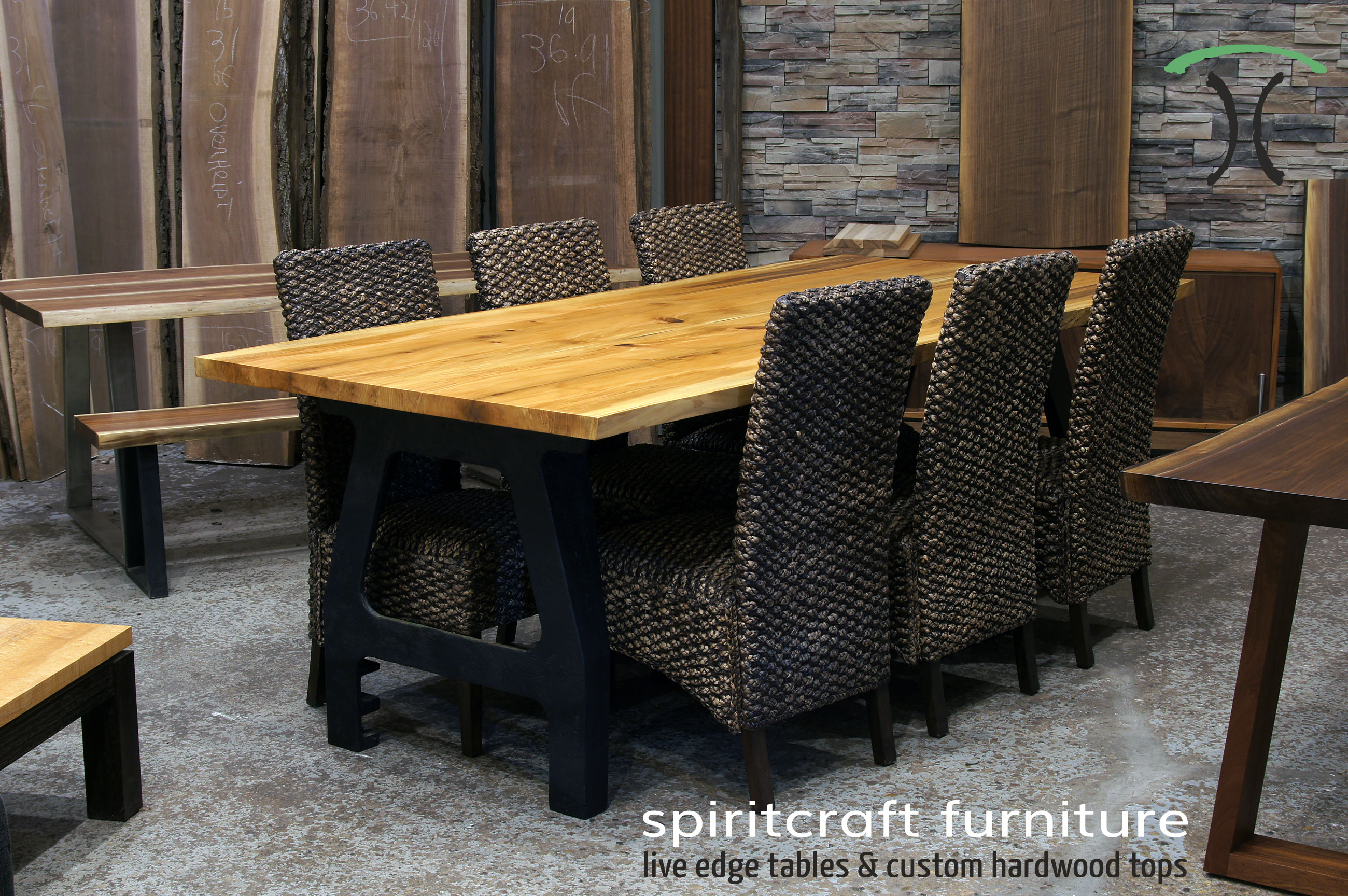 Chicago Area Furniture Natural Edge Dining And Conference Tables In Walnut Sycamore With Kiln Dried Slabs On Hardwood