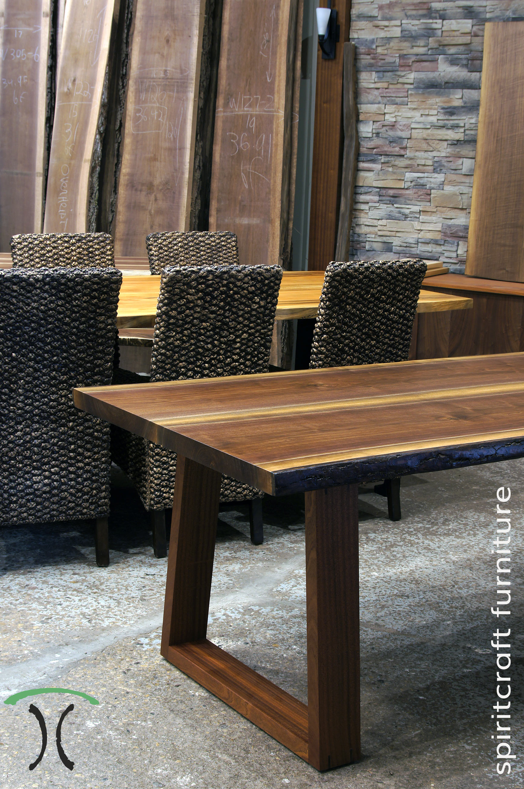 Live Edge Dining And Conference Tables In Solid Black Walnut And Sycamore  With Live Edge Kiln