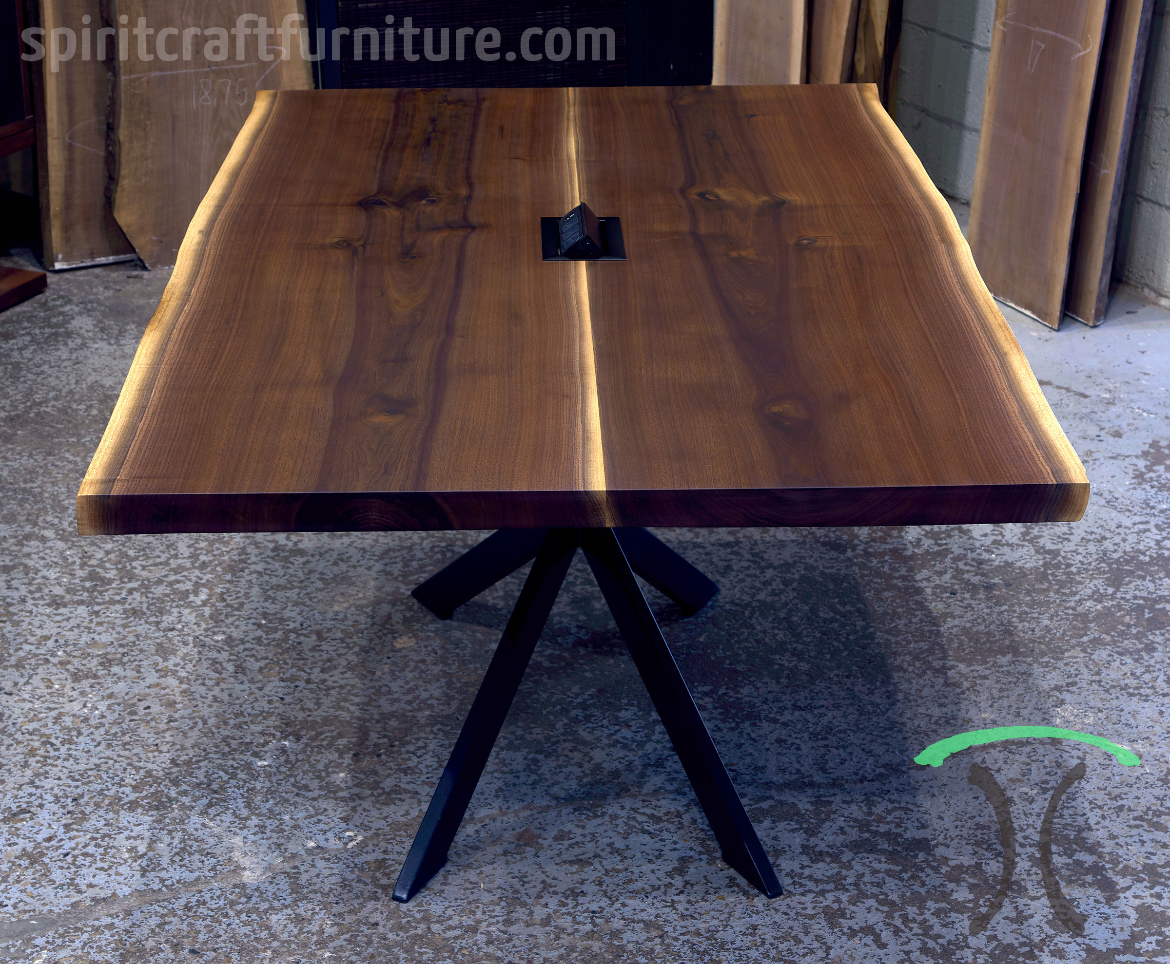 Live Edge Wood Slab Conference Room Tables And Desk Tops - Conference table power center