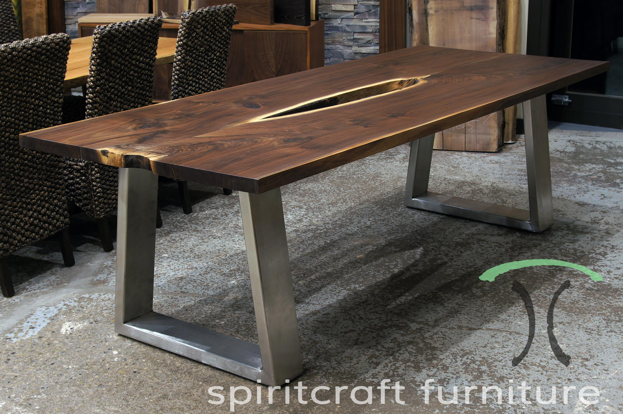 Black Walnut Live Edge Desk - Table with Large Profile Stainless Steel Legs for Chicago client in Naperville, Illinois Office.