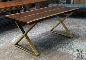 Kiln dried Black Walnut live edge dining table with crosses X gold brass steel legs