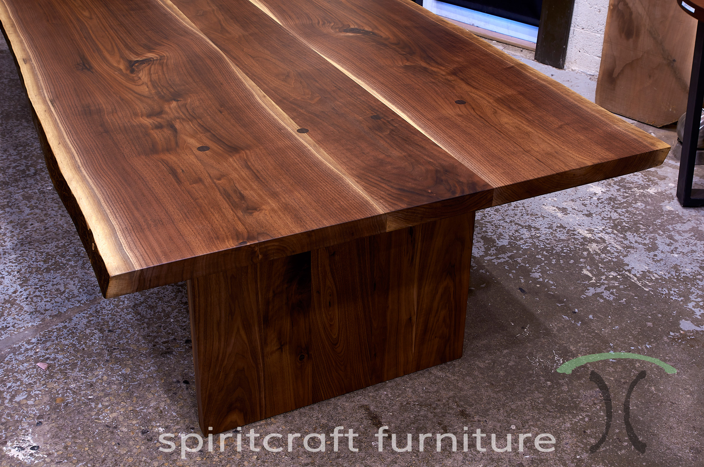 Live edge wood slab conference room tables and desk tops for Live edge wood slabs new york