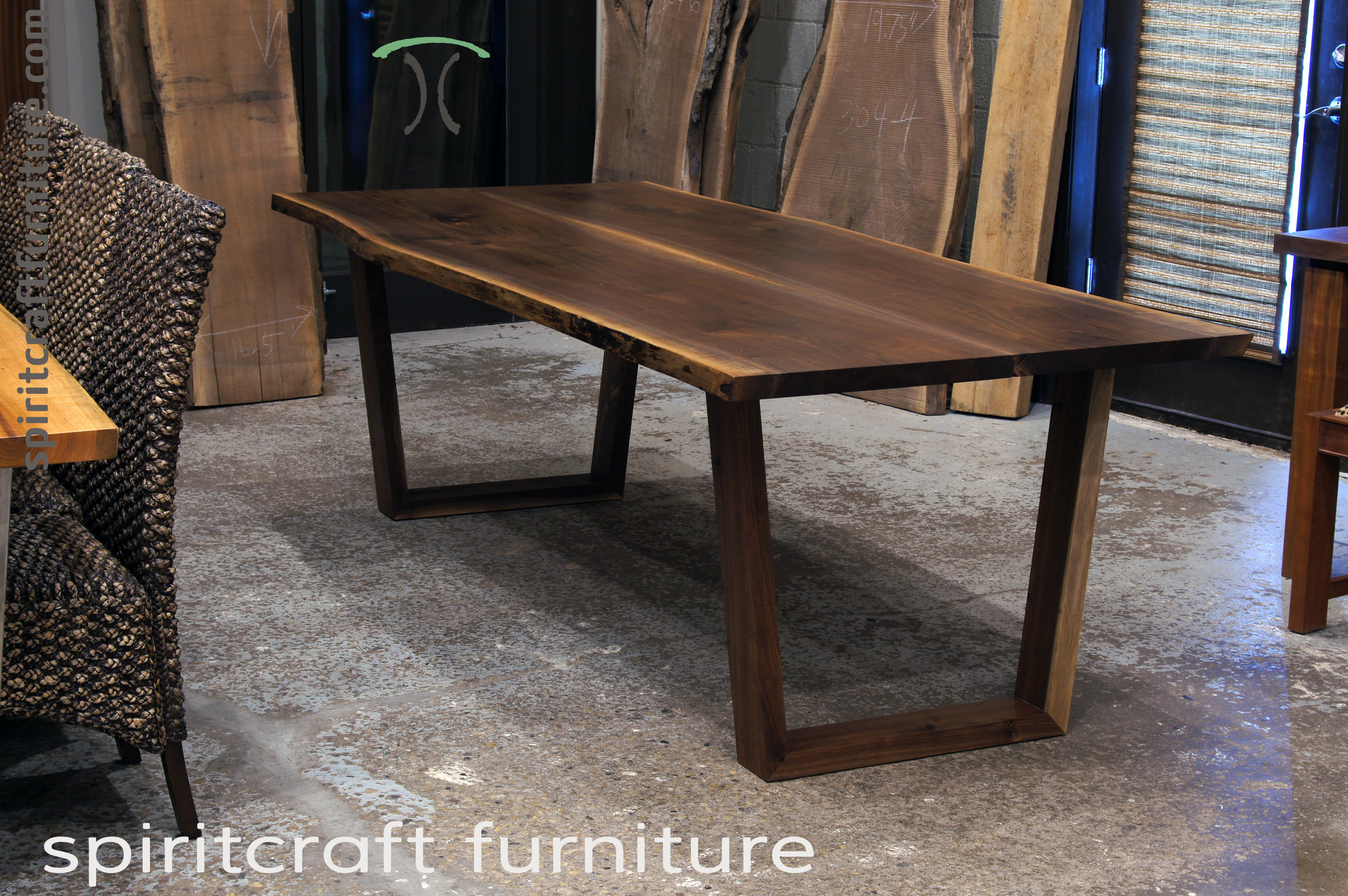 Black Walnut live edge slab dining table for Chicago area Living Edge Furniture Company, East Dundee, IL.