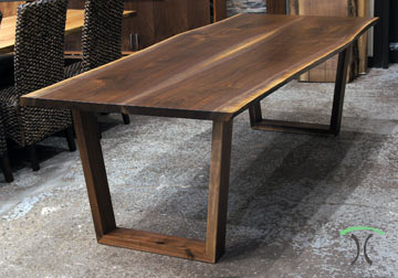 Walnut Live Edge Dining Table with our Solid Hardwood Trapezoids in our Chicago Area Live Edge Furniture Showroom