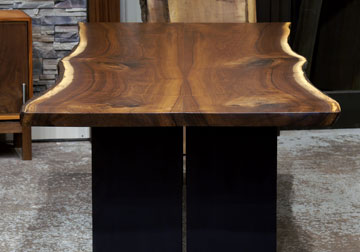 Live edge dining table in solid book-matched Black Walnut live edge slabs steel plate legs for California Winery from our furniture store in Chicago area, East Dundee, Illinois