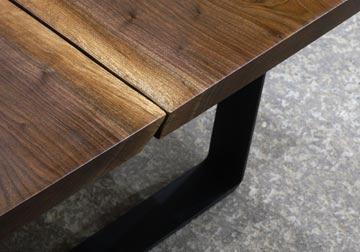 Walnut Natural Live Edge Slab Cocktail Table On Metal Mid Century Trapezoid  Legs By Spiritcraft Interior