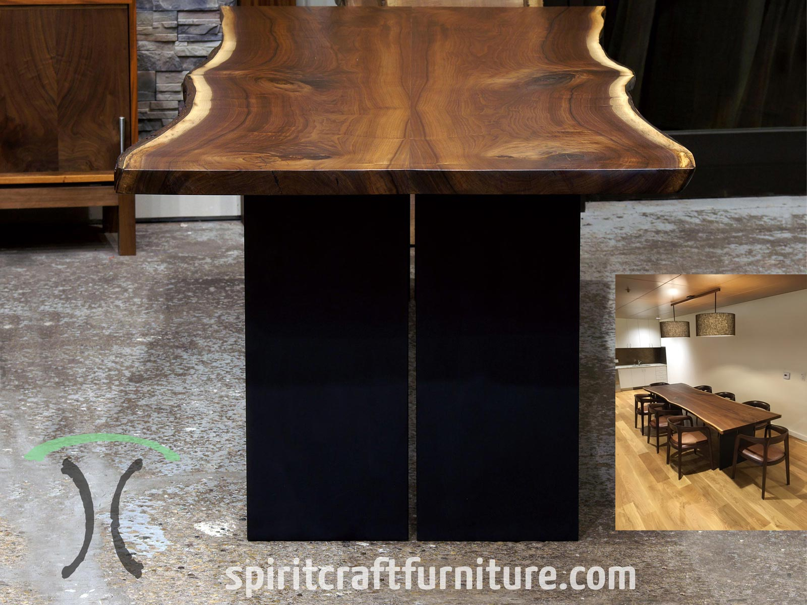 Live edge Black Walnut corporate headquarters conference room table at Kendall Jackson Winery in Santa Rosa, California