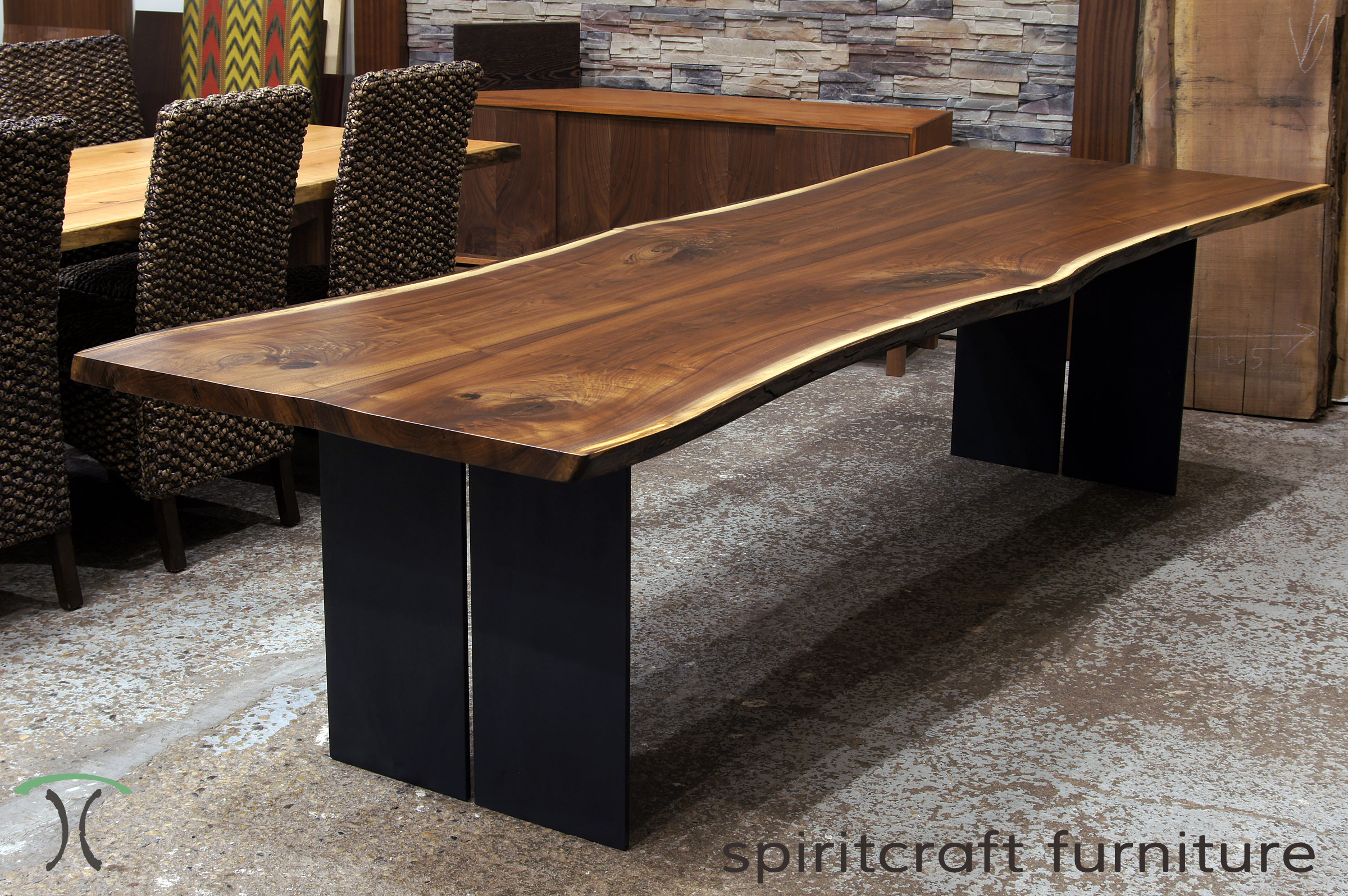 Live Edge Chicago Area Walnut Dining Table With Steel Legs. Features  Book Matched Black