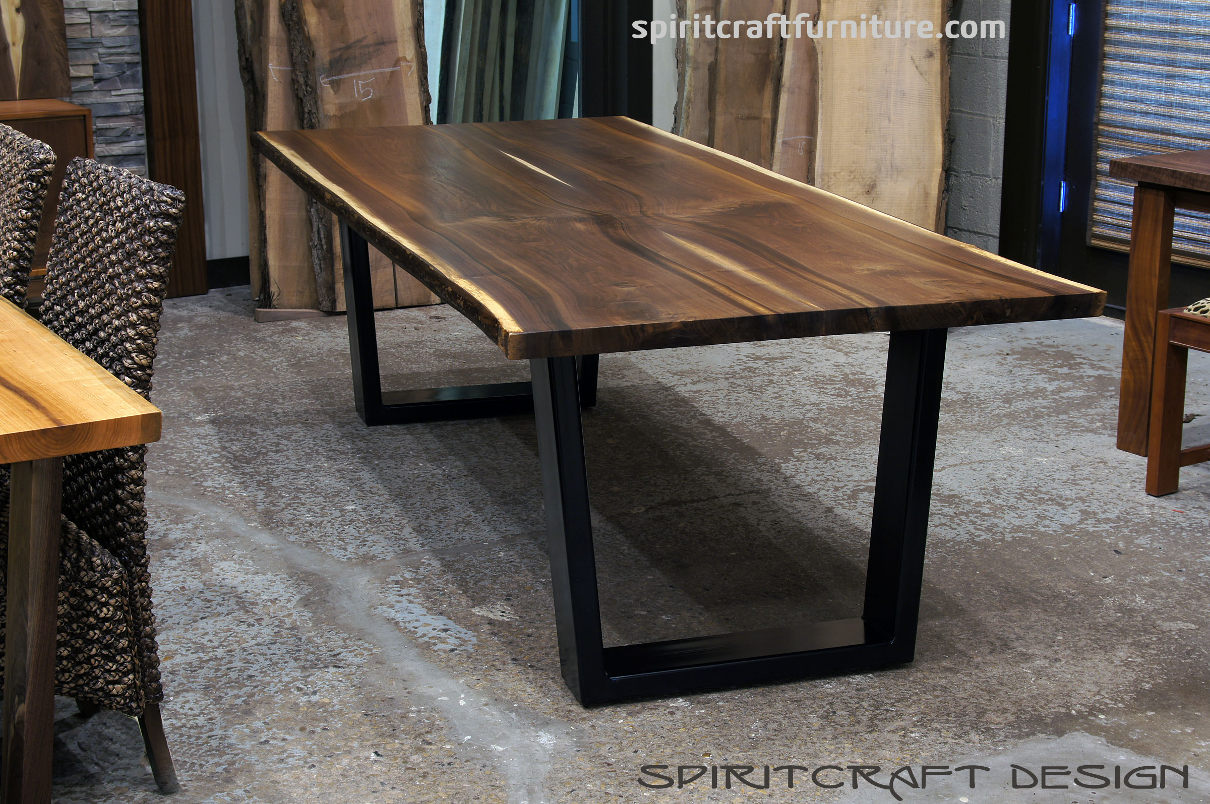 Black Walnut live edge slab dining table for Chicago area client from Great Spirit Furniture Company, East Dundee, IL.