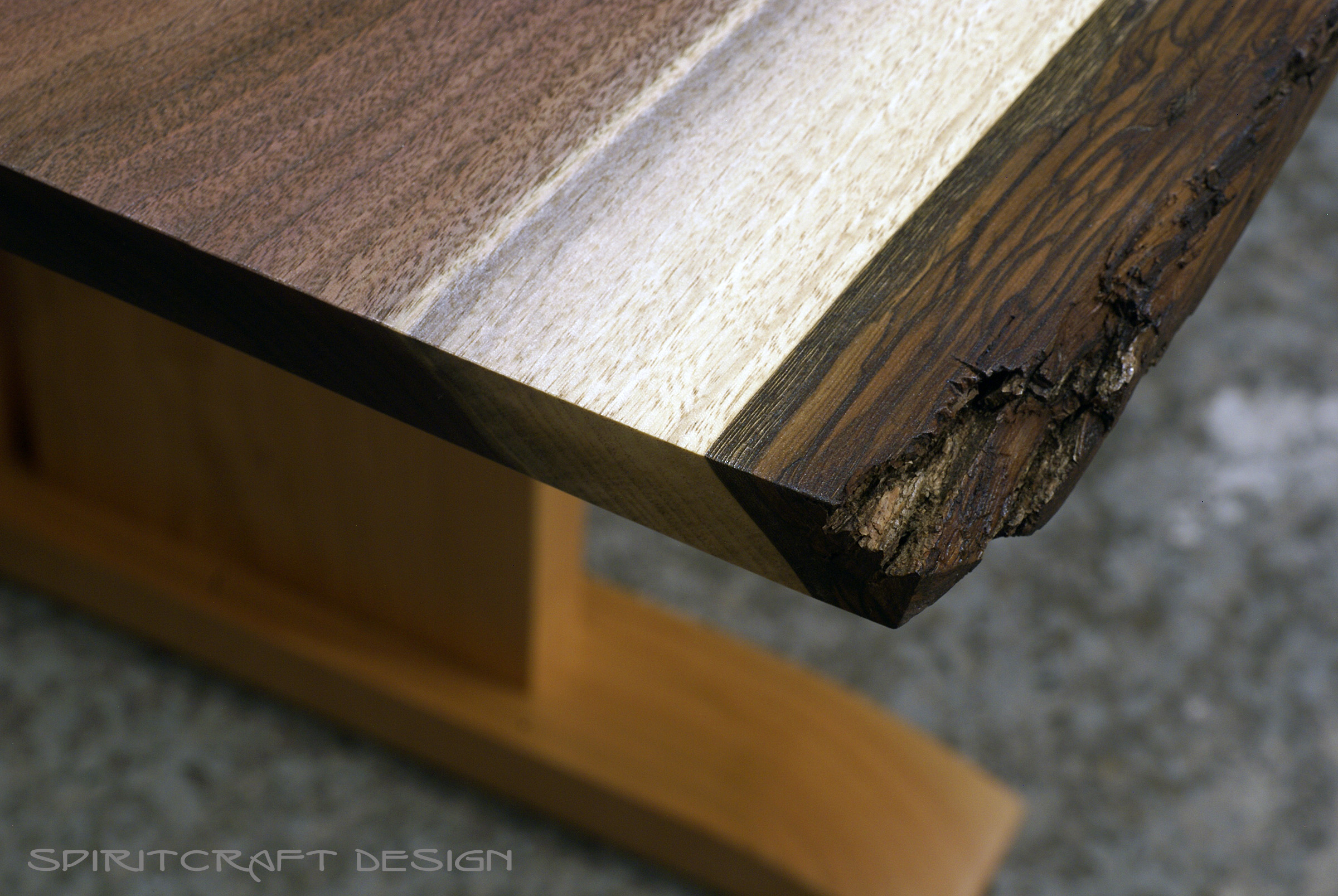 edge  live edge walnut table with cherry pedistal base for chicago client bark detail: walnut cherry dining