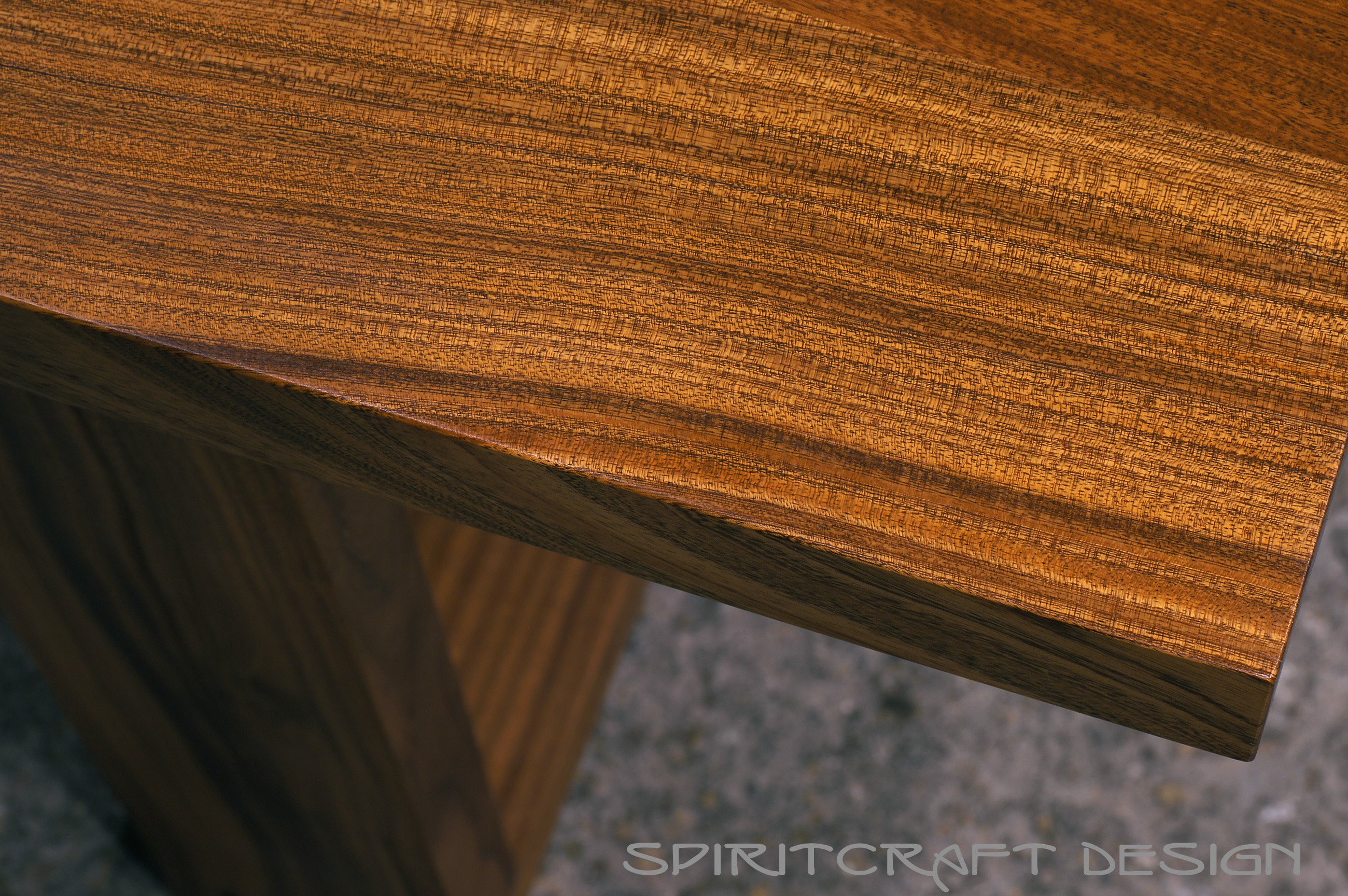 Mid Century Modern Slab Table In Sapele Mahogany And Wenge At Spiritcraft  Interior Design Furniture Showroom