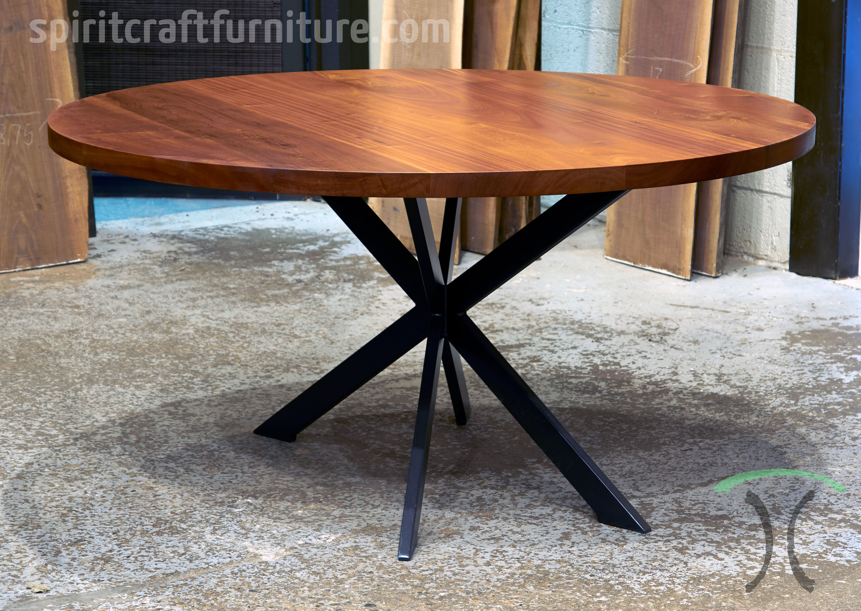 Solid Sapele Gany 72 Inch Round Conference Table For Barrington Chicago Corporate Office Installation By Spiritcraft
