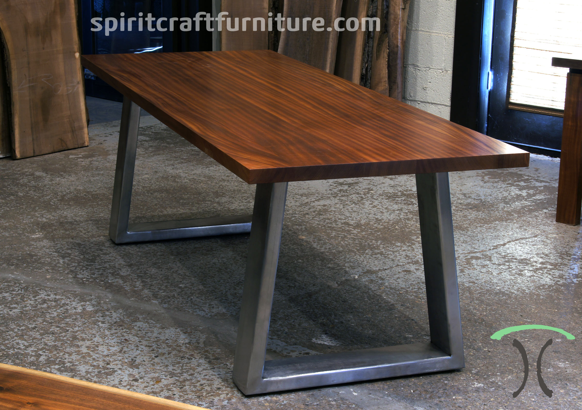 Sapele Mahogany Slab Conference Table, Desk On Massive Stainless Steel Mid  Century Modern Trapezoid Legs Part 77