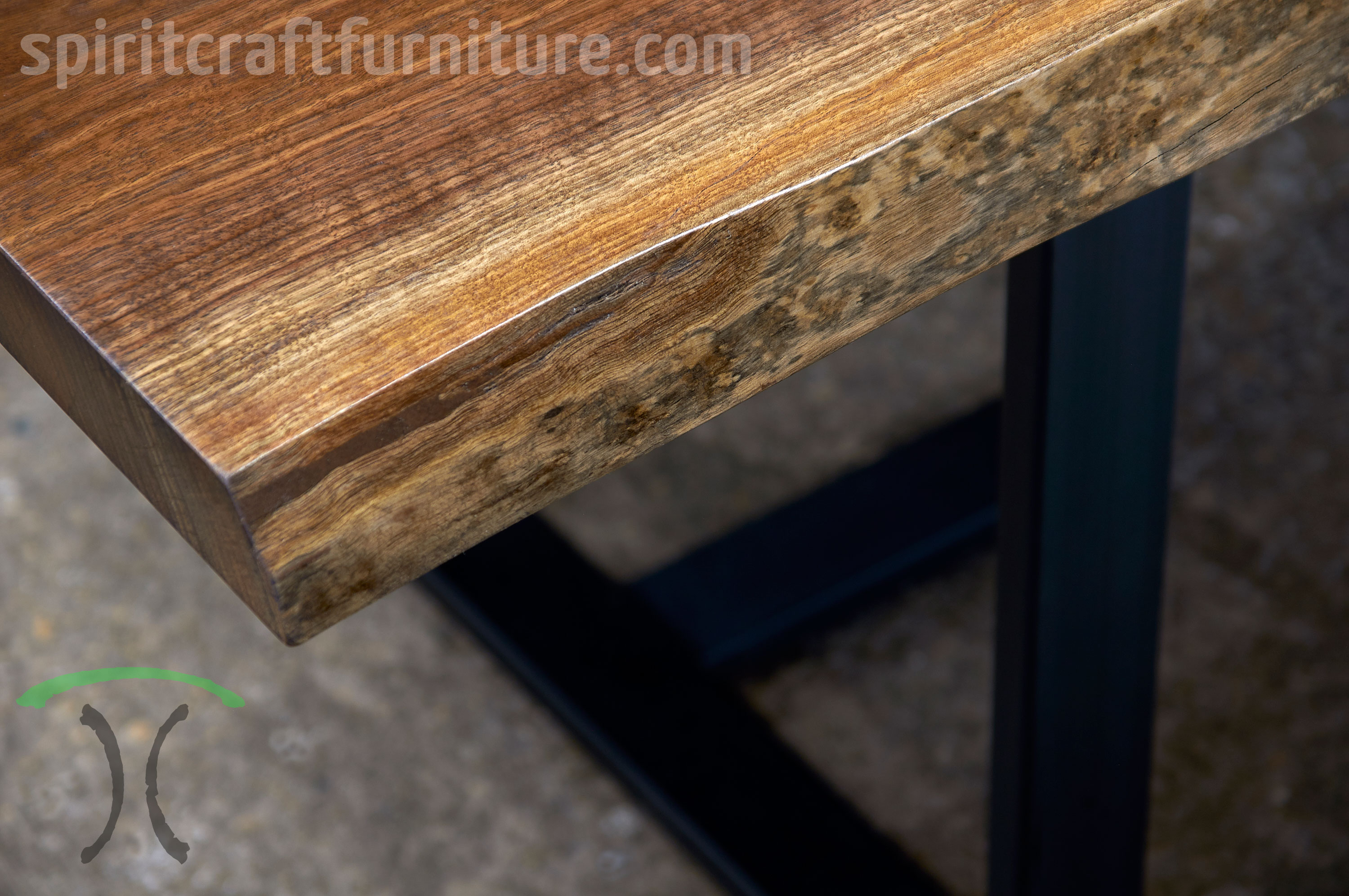 solid kiln dried black walnut live edge desk - conference table for suburman Chicago corporate office installation by spiritcraft furniture of east dundee, il.