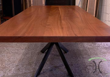 Sapele Mahogany slab conference table for Los Angeles, California office from Spiritcraft Furniture of East Dundee, IL.