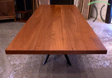 Solid Sapele Mahogany conference table on black steel pedestal spider base for New York Client from Chicago area furniture maker