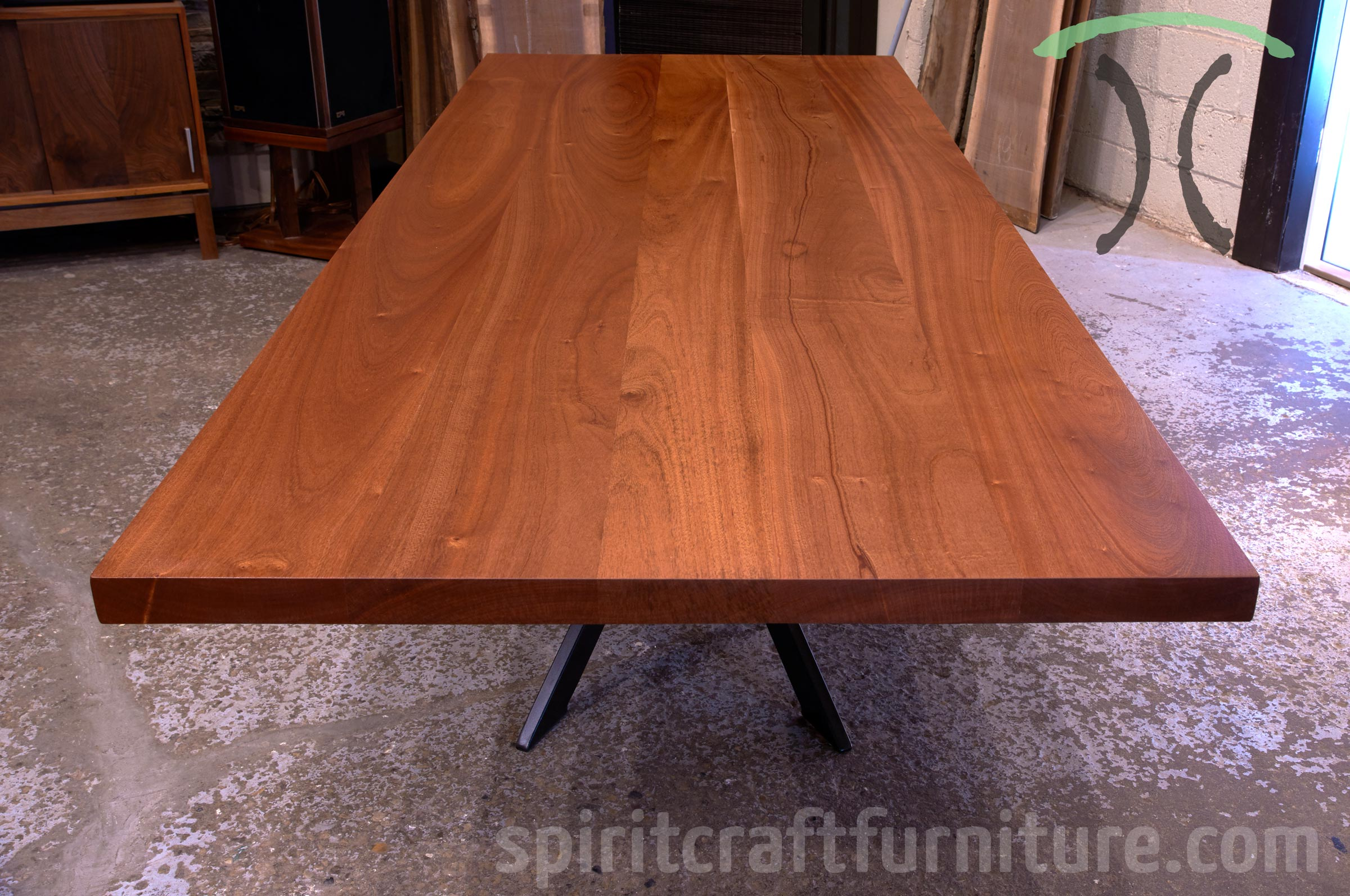 Solid Sapele Mahogany Conference Table On Black Steel Pedestal Spider Base  For New York Client From