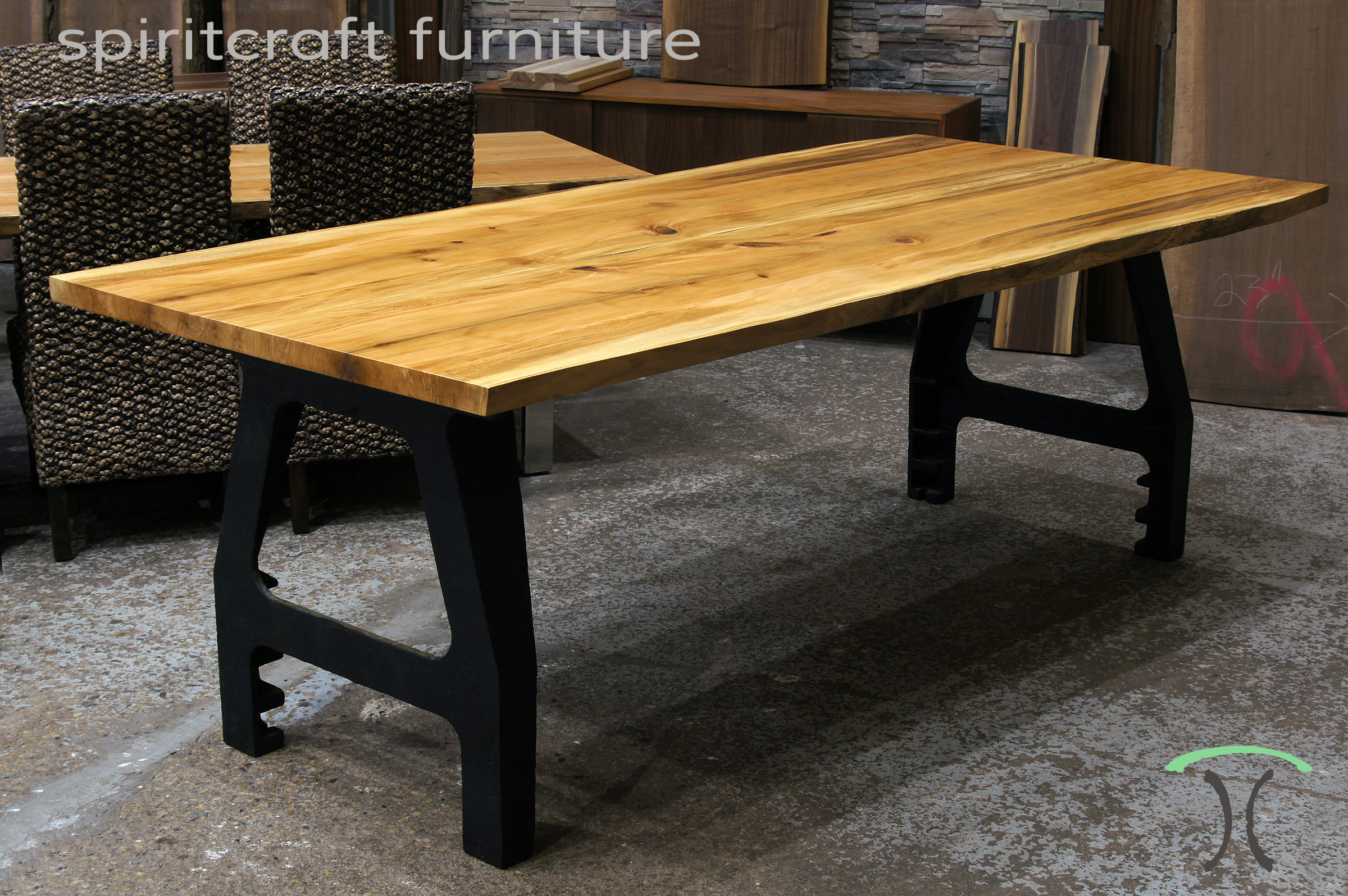 Sycamore Live Edge Dining Table with cast iron legs in our Chicago Area Live Edge Furniture Showroom