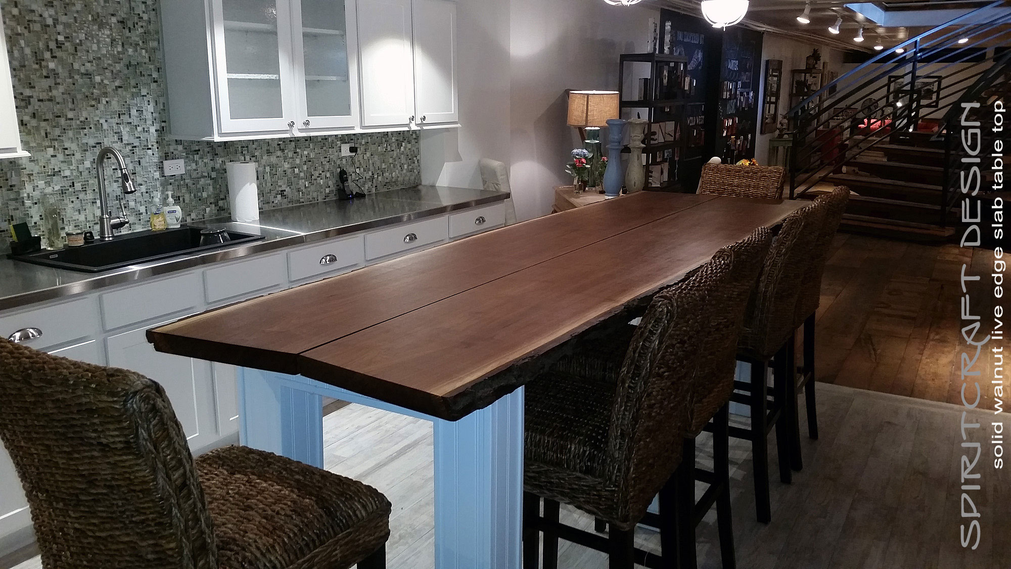 About spiritcraft solid hardwood furniture dundee il for Live edge kitchen island