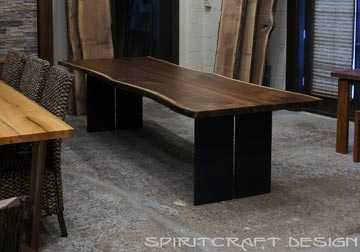 Black Walnut live edge dining table, shipped to Kendall Jackson Winery, California from Chicago area, pictured at Great Spirit Furniture Company, East Dundee, IL.
