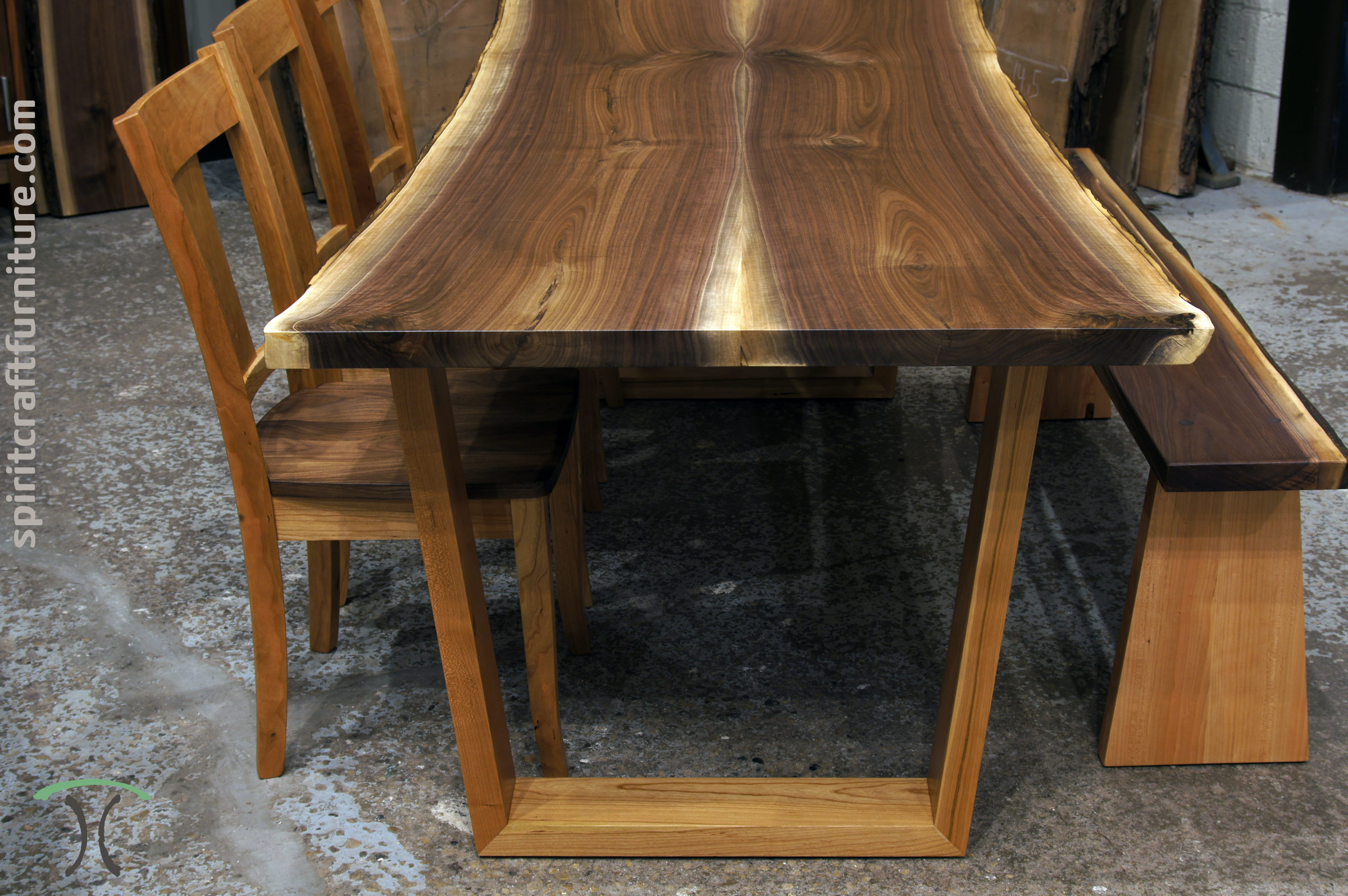 Black Walnut Live Edge Dining Table And Bench On Cherry Trapezoid Legs With  R.H. Yoder Dining