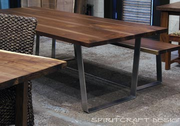 Marvelous Dining Table And Matching Bench From Slabs Of Kiln Dried Black Walnut With  Mid Century Modern